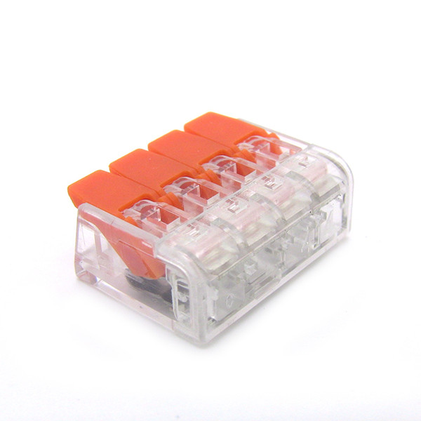 best selling (50 pieces   lot) suyep 221-414 PCT-414 type Universal Compact Conductor Terminal Block Lever Home Wire Connector type 4Pole Cable Clamp Nut