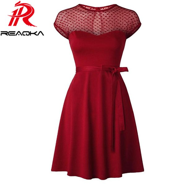 Reaqka Heart Pattern Gauze Mesh Summer Dress Patchwork Swing Cocktail Bow Women Little Black Dress 2017 Fashion Women Clothing 17306