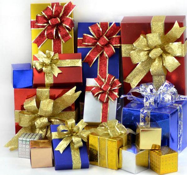 Large Glitter Bow Christmas Tree Decoration Present Gift Box DIY Decor New Year Wedding XMAS Ornaments Wreath Garland Bows