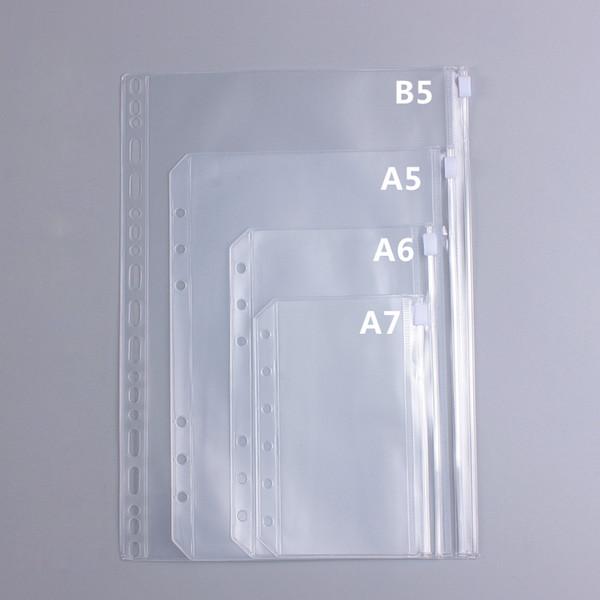Оптовая продажа-B5 a5 A6 A7 спиральная молния сумка планировщик, прозрачный лист карманы на молнии карманы