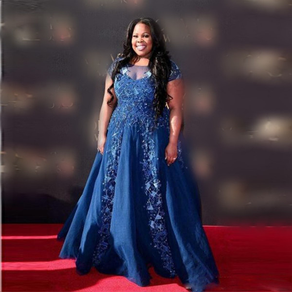 Navy Blue Plus Size Prom Dresses 2018 Sheer Neck Cap Sleeves Evening Gowns  South African Appliques Beads Celebrity Formal Party Dress Alternative Prom  ...