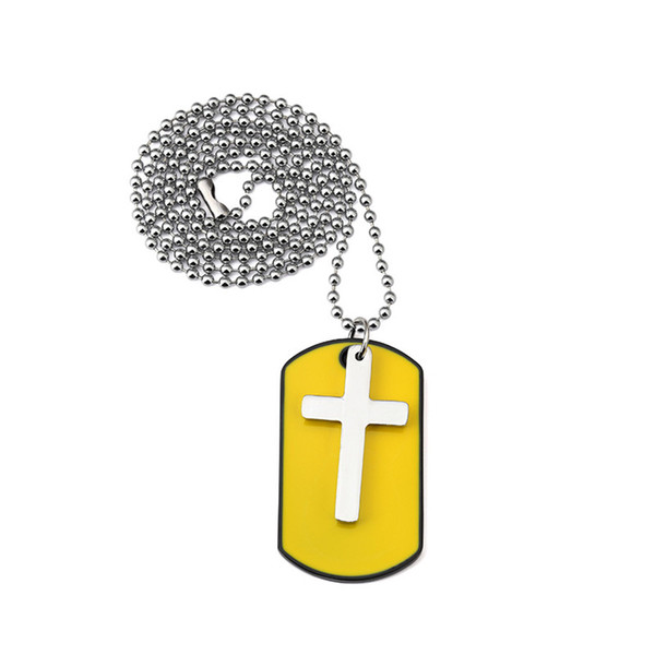 Fashion Design Jewelry Charm Mens Yelloy Dog Tag Cross Pendant Necklace For Men 27inch Beads Chain Hip Hop Men Necklace
