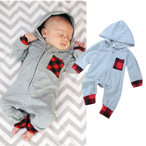 Newborn infant baby boy girl toddler romper jumpsuits hooded plaid bodysuits children cotton long sleeve solid color pajamas kids clothing