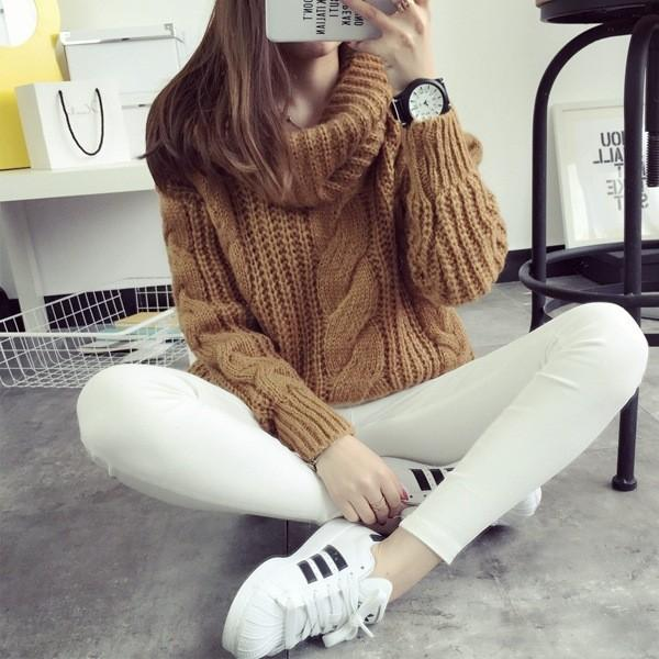 In stock Women Winter Sweaters and Pullovers Turtleneck Sweater Oversized Thicken Warm Twist Knitted Sweater pullover Pull Femme FS0717