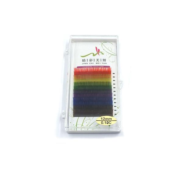 12 Filas de Colorido Arco Iris Extensión de Pestañas de Alta Calidad 0.1mm Coloridas Pestañas Individuales Herramientas de maquillaje 6 Colores Envío Gratis ZA2359