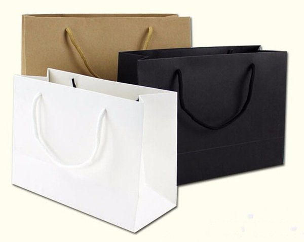 Wholesale 100PCS/LOT Classical Style White Black Kraft Paper Gift Packaging Bag 230g Cardboard Paper Made