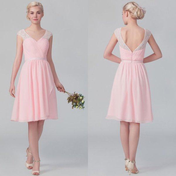 Custom Made Vintage Style A Line Cap Sleeve Lace Short Bridesmaid Dresses Knee Length Chiffon Pink Wedding Reception Dresses Pleated