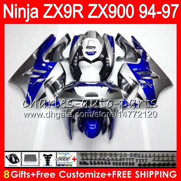 8Gifts 23Colors For KAWASAKI NINJA ZX 9 R ZX9R 94 95 96 97 900CC 49HM9 ZX Blue silver 9R ZX900 ZX900C ZX-9R 1994 1995 1996 1997 Fairing kit