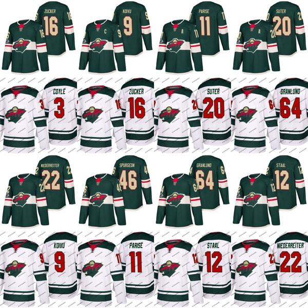 Minnesota Wild Jersey 3 Charlie Coyle 9 Mikko Koivu 11 Zach Parise 12 Eric Staal 16 Jason Zucker 18 Ryan Carter Hockey Jerseys White Green