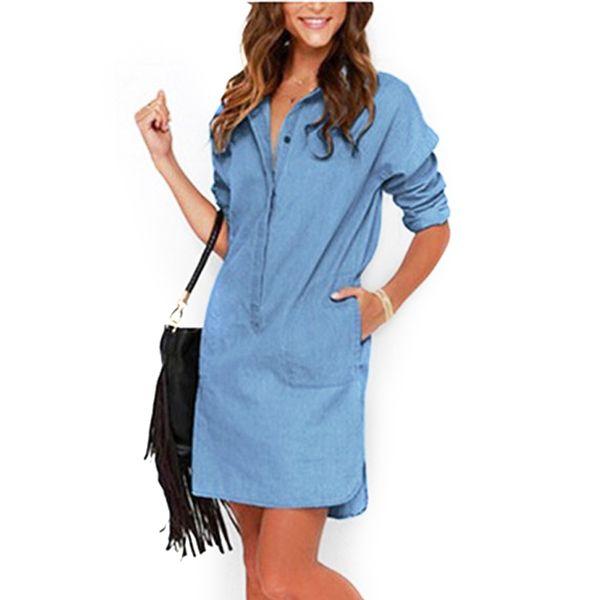 Wholesale- Fashion Dress Women 2017 Irregular Denim Dresses Long Sleeve Shirt Dress Casual Loose Office Jean Dresses Vestidos LJ1286C