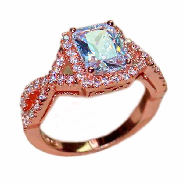 Luxury 6CT Square White Topaz CZ Diamond Gemstone Rings Finger Jewelry Eternal 925 Sterling Silver Rose