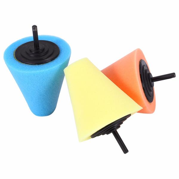 Al por mayor-1PCS 80mm Cono de Esponja de Pulido de Metal Espuma Taladro Eléctrico Pad Auto Lana de Pulido Bola de Pulido Cubo de Rueda cuidado Herramienta de Pulido