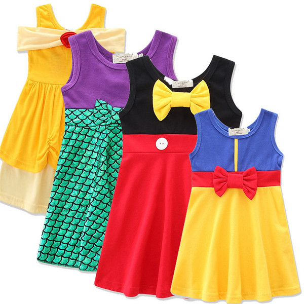 best selling 4 colors Girls cute princess dress kids cute cotton vest skirt Snow White Belle Mermaid clothing for 2-7T