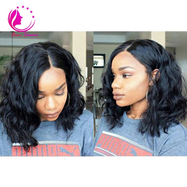 2017 Hot Selling Bob Lace Front Wigs Wavy Brazilian Human Hair Full Lace Wigs Side/Middle Part Glueless Short Wigs For Black Women