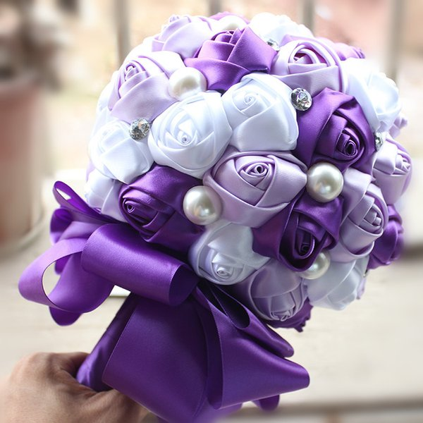 Artificial Bridal Flower Bouquets Beige Pink Purple Champagne Red ...
