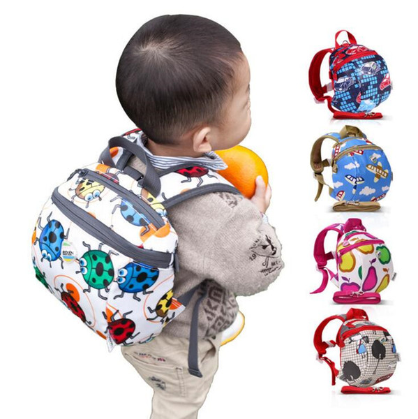 Baby Cartoon Backpacks Toddlers Anti Lost Printed Schoolbags Children Waterproof Shoulder Bags Kids Beetle Car Airplane Pear Backpack H776