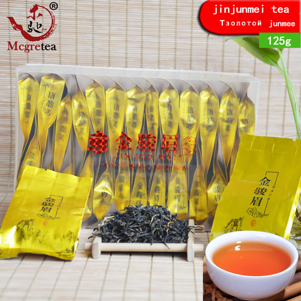 best selling [Mcgretea]125g Sachet 25 small bags China Black Tea Wuyishan gold Junmei longan incense good tea jinjunmei recommended sale
