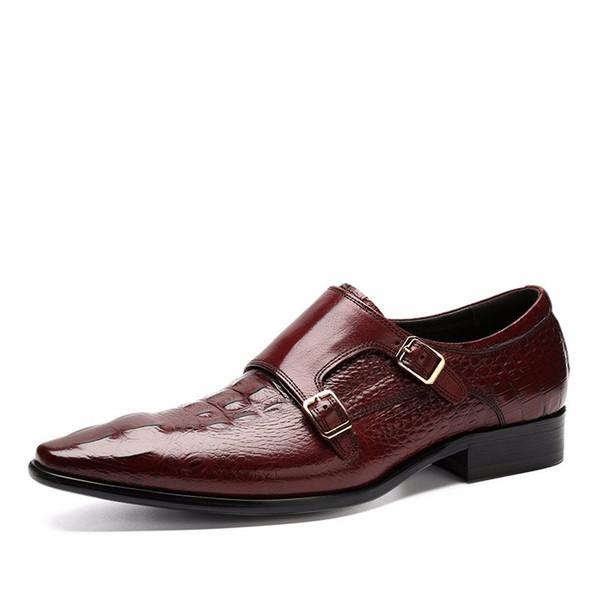 Designer Black /brown tan double buckle flats shoes mens wedding shoes genuine leather dress shoes mens business