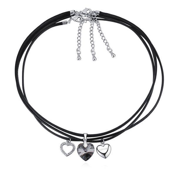 nueva llegada 8 colores de moda collar de gargantilla de joyería de cuerda de cuero negro con elementos de Swarovski corazones de cristal mejor regalo