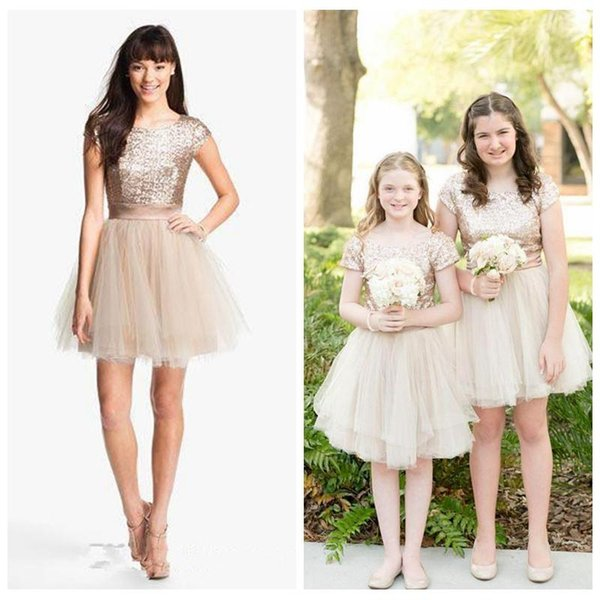 2016 Bing Bling Sequined Top Short Sleeves A-Line Tulle Skirt Junior Bridesmaids Dresses Rose Gold Short Mini Women Formal Wear For Girls