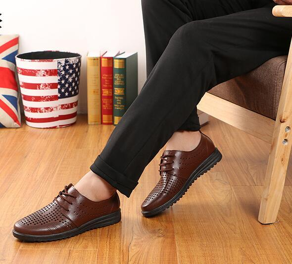 New style groom dress shoes mens cool leather Breathability hole hole shoes weaving cool men's leather shoe Men's hollow out shoes AX1