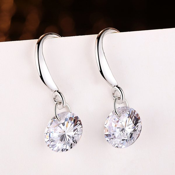 2017 new design 925 sterling swiss CZ diamond drop earrings dangle fashion jewelry beautiful wedding / engagement gift free shipping