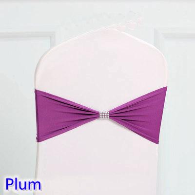 Plum colour tie bands Lycra sash chair sash Bow tie ribbon For Wedding Party Banquet Decoration for sale with shiny belt