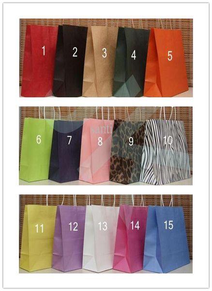15 Colors Fashion Hand Length Handle Paper Bag
