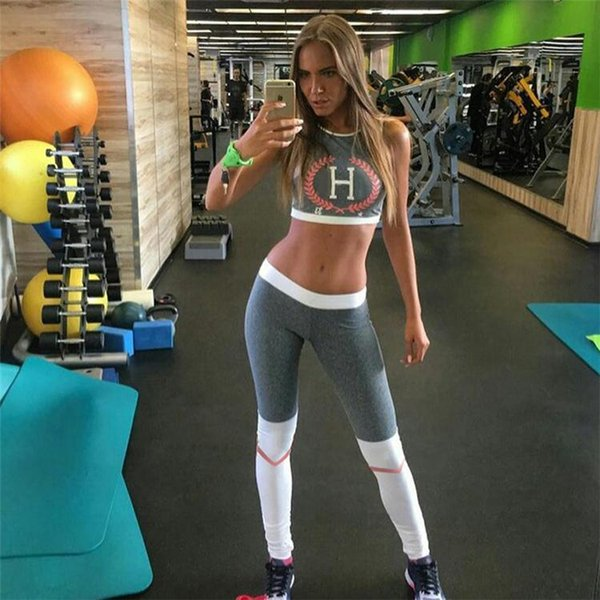 Women's Sports Suits Yoga Sets Sports Bra Leggings Slim Sportswear Running Jogging Woman Fitness Gym Stretch Sport Suit Clothing HGE