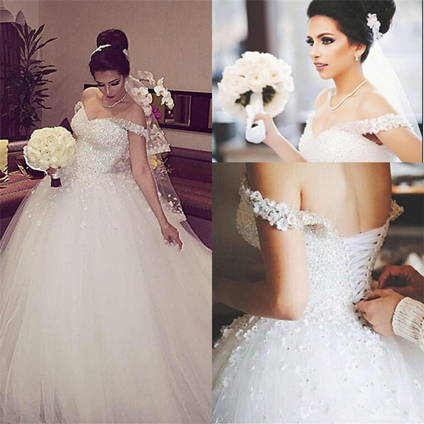 top popular 3D Flower Lace Lace-Up Back Court Train Long Bridal Ball Gown Off The Shoulder Sparkling Crystal Beads Wedding Dress 2021
