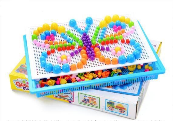 Baby Toys Creative Colorful Mosaic Mushroom Nail Ding Children Learning Toy Insert Beads Puzzle Educational Toys For Kids YH703