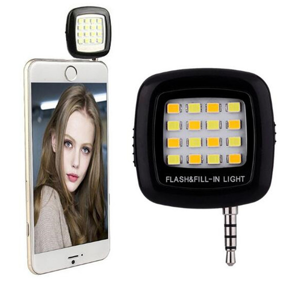 Mini LED Night Using Selfie Enhancing Dimmable Flash Light Cellphone Camera Flash Spotlight 3.5mm For iPhone 7 Samsung Galaxy S7 Universal