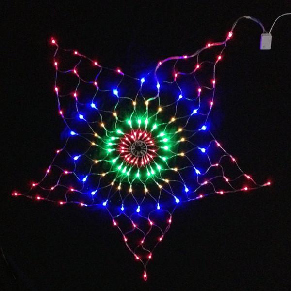 7W 130Pcs RGB LED Bulb Star Net Christmas Light Decoration AC220V Input 1.5 Meter Diameter Size Holiday Light , RGBY Color
