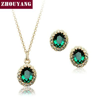 ZHOUYANG Top Quality ZYS106 Rose Gold Color Created Green Austrian Crystal Jewelry Set With 2 Pcs Eearrings + Necklace
