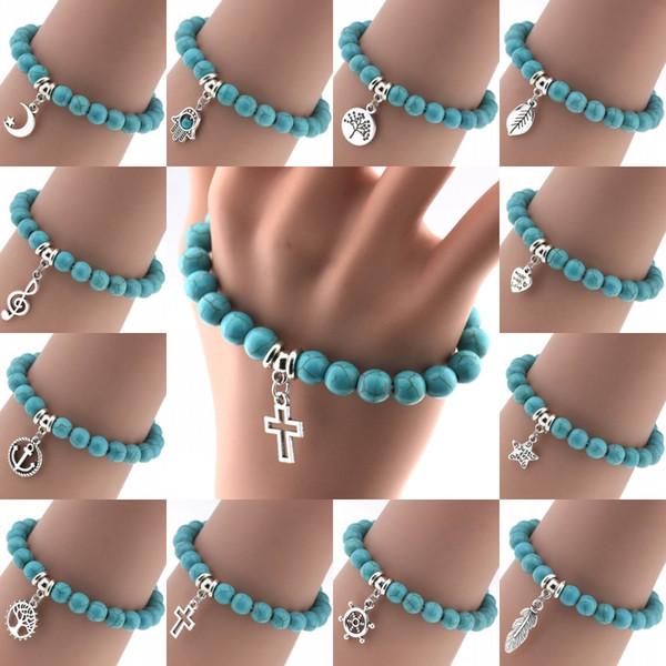 Bohemian Vintage Turquoises Bracelets for Women Men Cross Tree Star Moon Heart Hand Pendant Charm Bracelet Bangle Fashion Jewelry D84S
