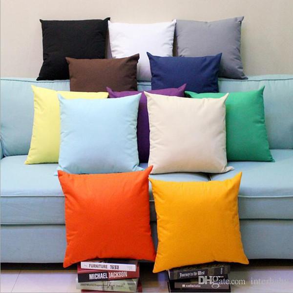Candy Color Pillows Case Soft Plain Pillow Cover Throw Sofa Cushion Cover  Nap Cushion Covers Home