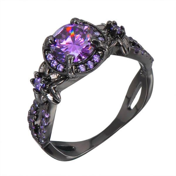 Victoria Wieck Retro Jóias 10kt Black Gold Filled Ametista Simulado Diamante Pedras Preciosas Casamento Noivado Mulheres Banda Rodada Anel Size5-11