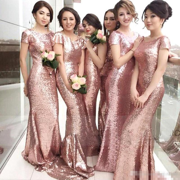 Sparkle Rose Pink Cheap 2016 Cheap Mermaid Sequins Bridesmaid Dresses Short Sleeves Backless Long Wedding Party Maid Honor of Gowns Custom