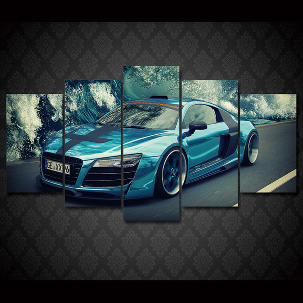 5 Pcs/Set Framed HD Printed Blue car landscape Group Painting Canvas Print room decor print poster picture canvas Free shipping/ny-544