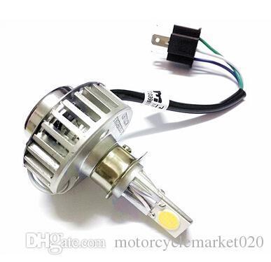 Hi/lo Dual Beam H4 LED Motorcycle Headlight Kit 24W 2500lm 3 COB Chips Bike Head Lamp Bulb 6500K/3000K & H4 Connector