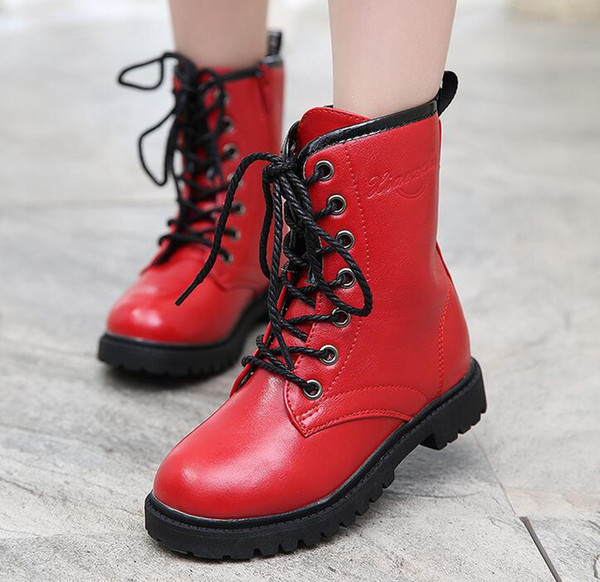 best selling Children Boots Girls Winter Leather Shoes 2016 Autumn Kids Boots Boys Fur Leather Shoes Fashion Girls Boots Kids Winter Shoes