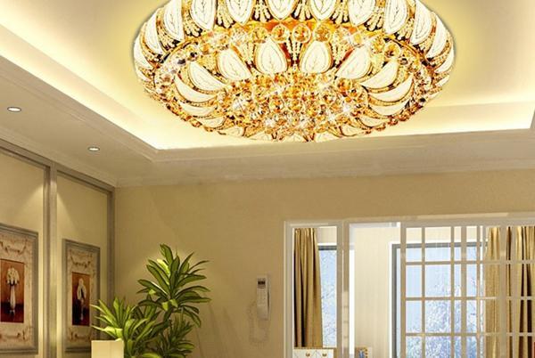 Nouveau Moderne De Luxe Cristal Plafonnier Suspension Lampe Or Fixture Éclairage LED cristal gradateur plafonnier salon chambre restaurant