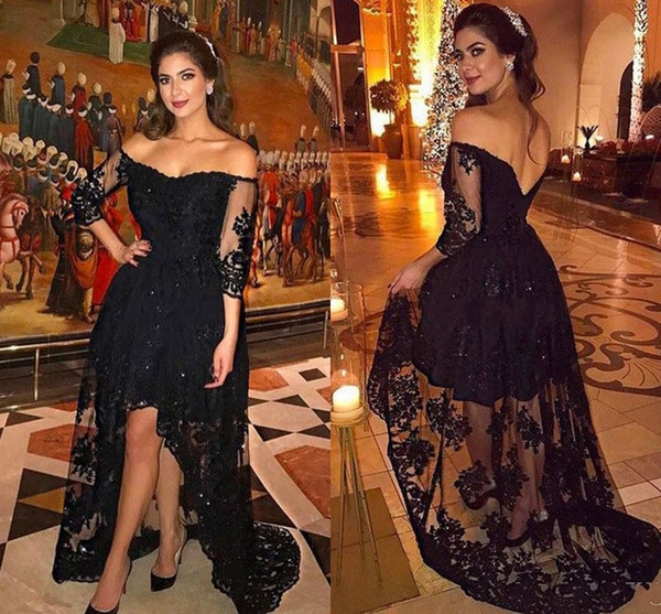 2017 Sexy Hi Lo Plus Size Prom Dresses Sparkly Sequins Off Shoulder Backless Homecoming Party Queen Dress Arabic Women Dresses Evening Wear