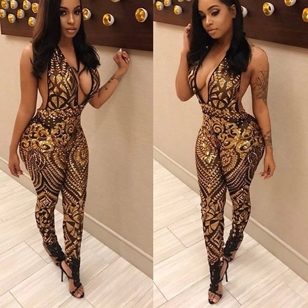 Womens Fashion Sexy Deep Plunge V-Neck Sleeveless Bodycon Tight Bodysuit Romper Playsuit Jumpsuit Clubwear