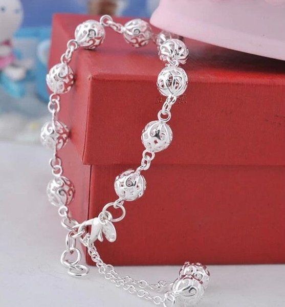 Low price Promotion! Mark 925 Girl / Madam Hollow ball Bracelet 925 Sterling Silver Jewelry 8mm 19cm Chains 10pcs/lot