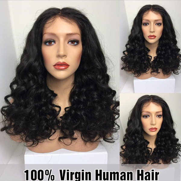 7A Grade Full Lace Wig With Bangs Deep Wave Full lace Human Hair Wigs 100% Brazilian Virgin Lace Wig With Baby Hair
