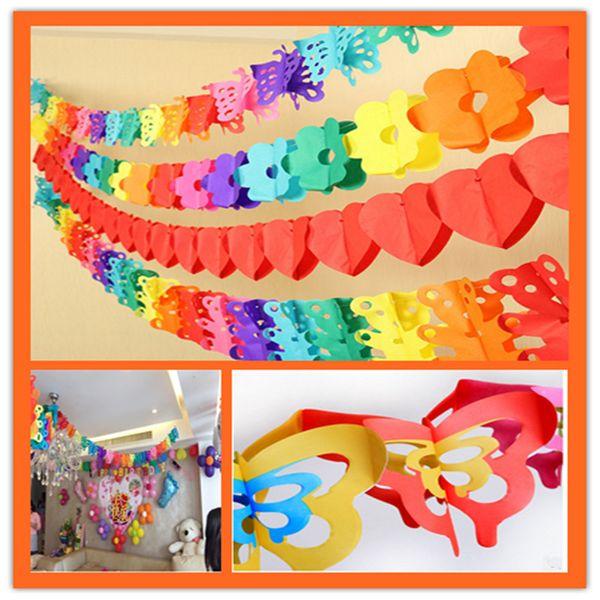 Al por mayor - Decoración de bodas 3M Coloridos dibujos animados Animal Papel Garland Honeycomb Ball Bandas de papel a rayas Banner Fiesta de cumpleaños Suministros 6z