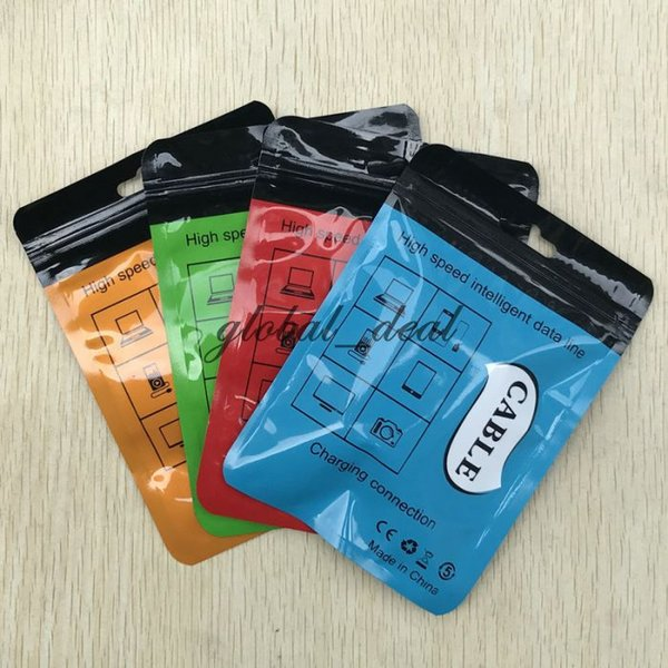 Zipper Kleinpaket Box OPP Poly-Beutel für Mikro-USB-Ladegerät Daten-Sync-Kabel Audio-Kopfhörer iphone 7 Plus-Samsung S8 plus