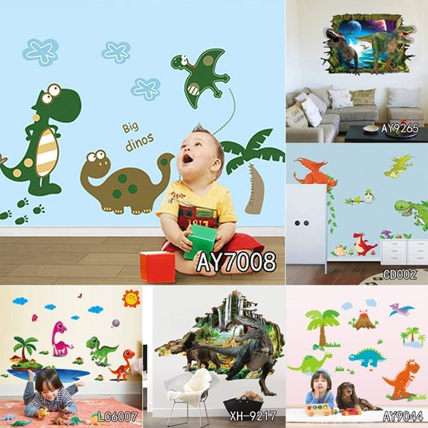 3D Dinosaurs Wall Stickers Home Decoration DIY Cartoon Dinosaurs PVC Forest Animals Print Living Room Decals Mural Art Poster