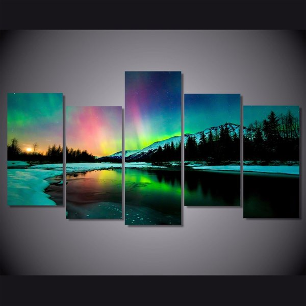 5 Pcs/Set Framed HD Printed Snow Mountain Lights Picture Wall Art Canvas Print Room Decor Poster Canvas Painting Wall